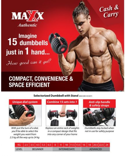 MAXX AUTHENTIC  24KG SELECTORIZED DUMBELL SET WITH STAND